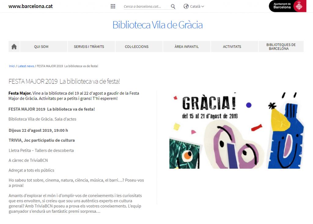 Festa Major Gracia - Biblioteca Vila de Gracia