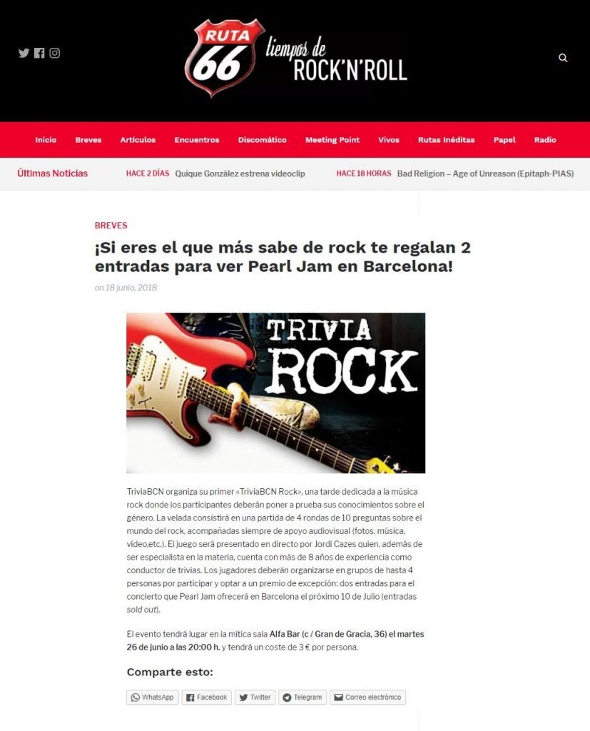 Pearl Jam - Ruta 66